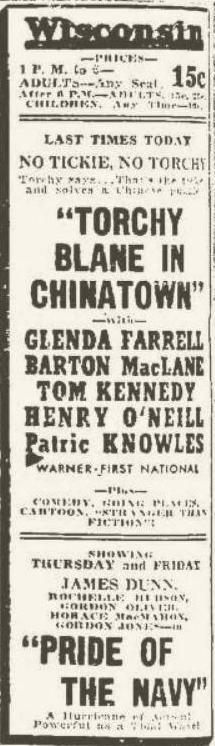 Torchy Blane in Chinatown 1939 newspaper ad