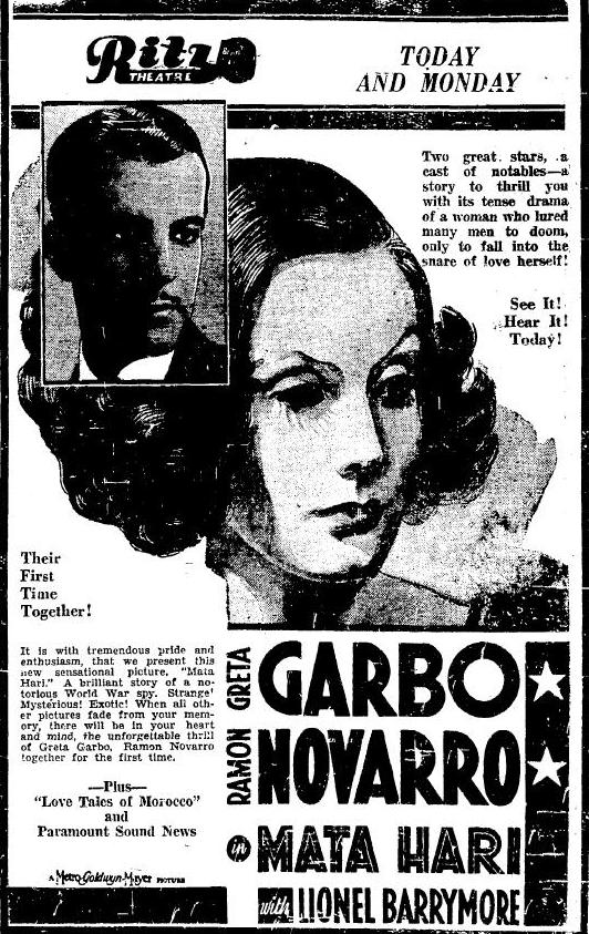 Mata Hari 1932 newspaper ad