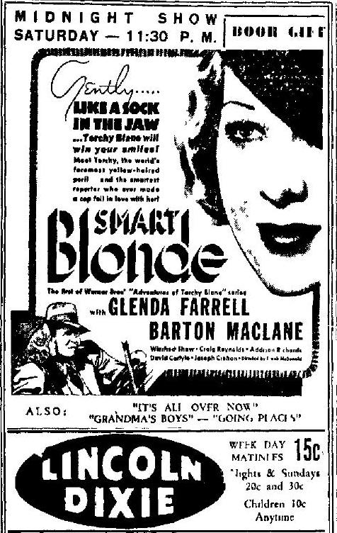 Smart Blonde 1936 newspaper ad