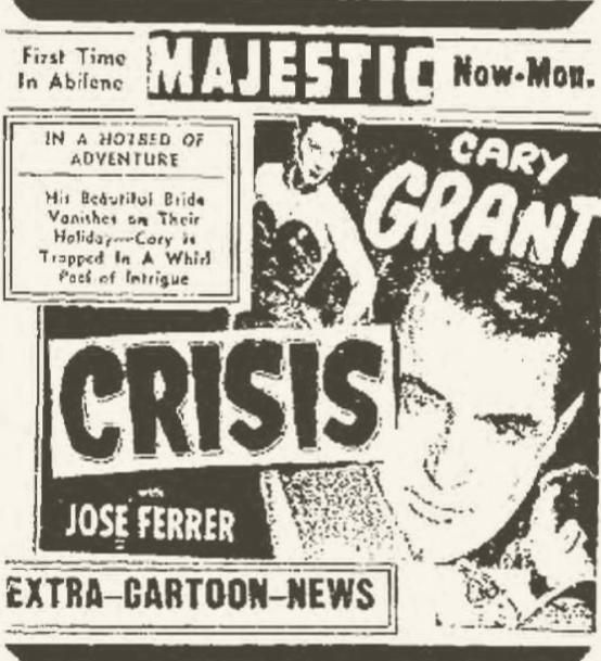 Crisis 1950 movie newspaper ad