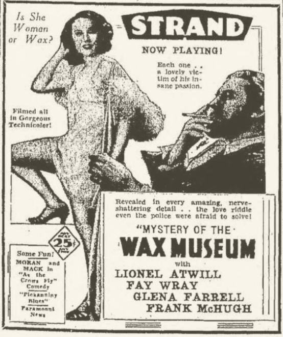Mystery of the Wax Museum 1933 newspaper ad