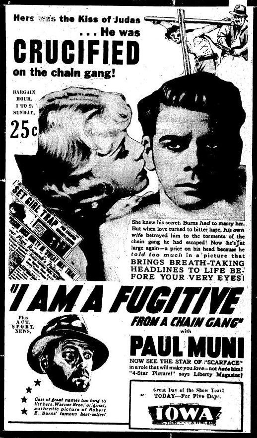 I Am a Fugitive from a Chain Gang 1932 newspaper ad