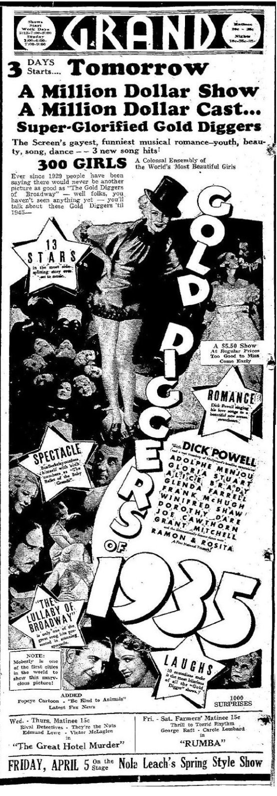 Gold Diggers of 1935 newspaper ad