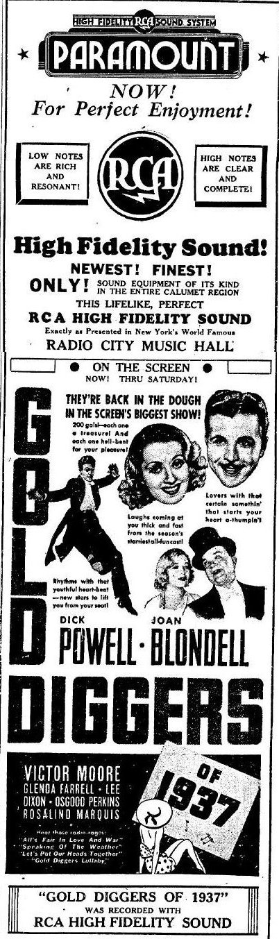 Gold Diggers of 1937 newspaper ad
