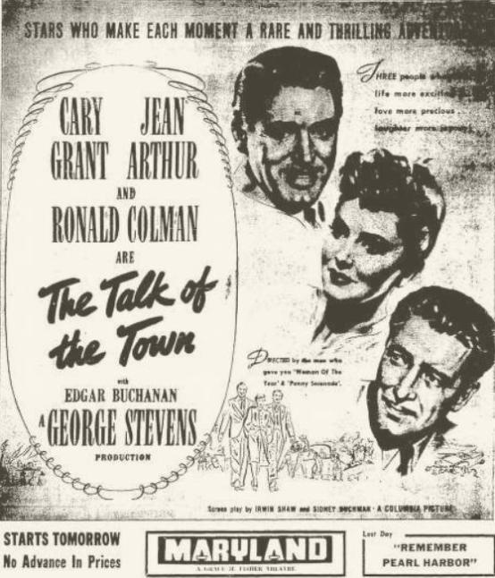The Talk of the Town 1942 newspaper ad