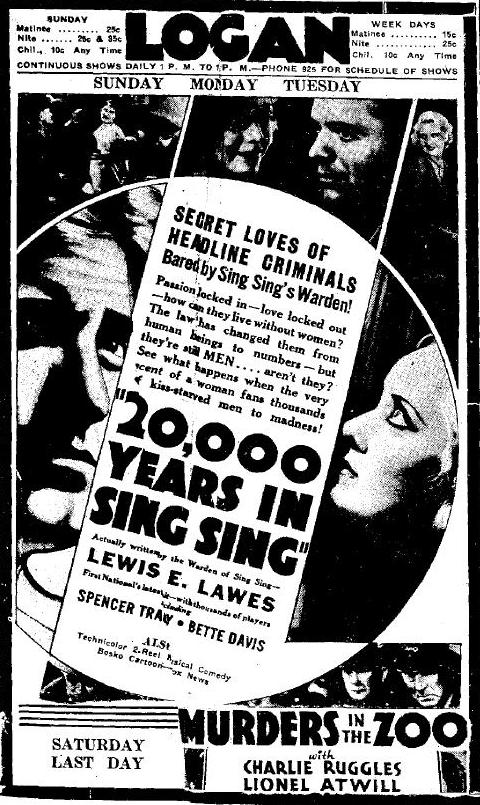 Newspaper ad for 20000 Years in Sing Sing
