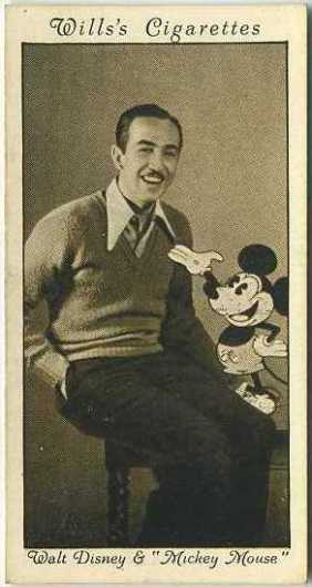 Walt Disney and Mickey Mouse 1931 Wills Cinema Stars Tobacco Card