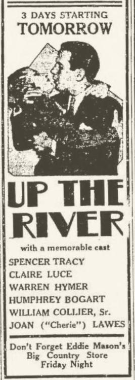 Up the River newspaper ad with Humphrey Bogart, Lima News, February 4, 1931, page 3
