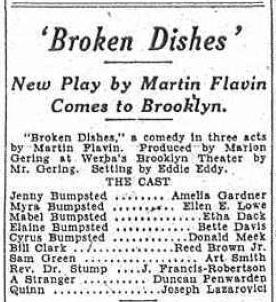 Cast of Broken Dishes in Brooklyn, 1929, including Bette Davis