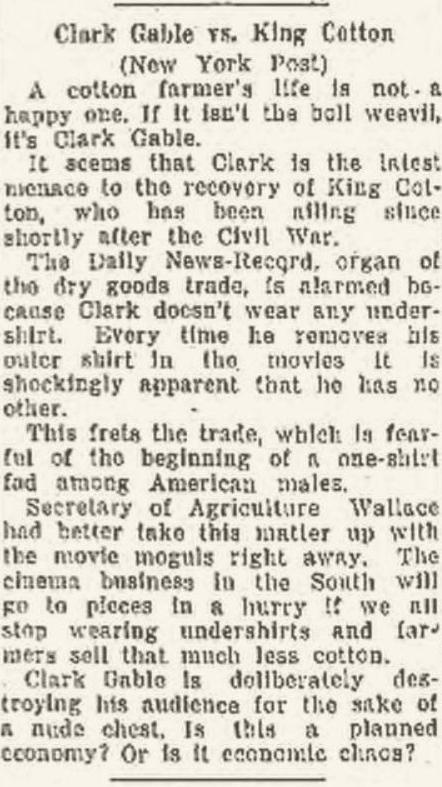 Clark Gable vs King Cotton