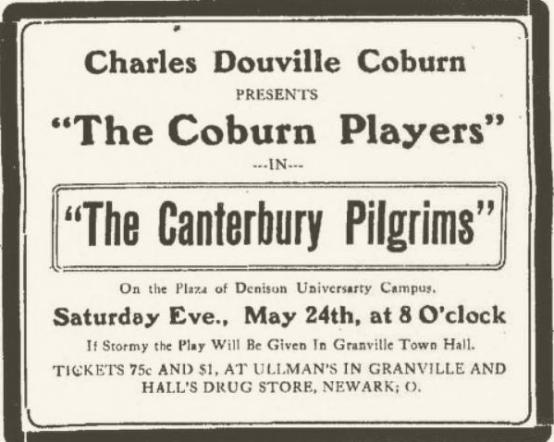 1913 ad for The Coburn Players