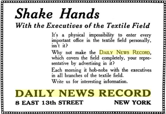 1920 ad for advertising in the Daily News Record