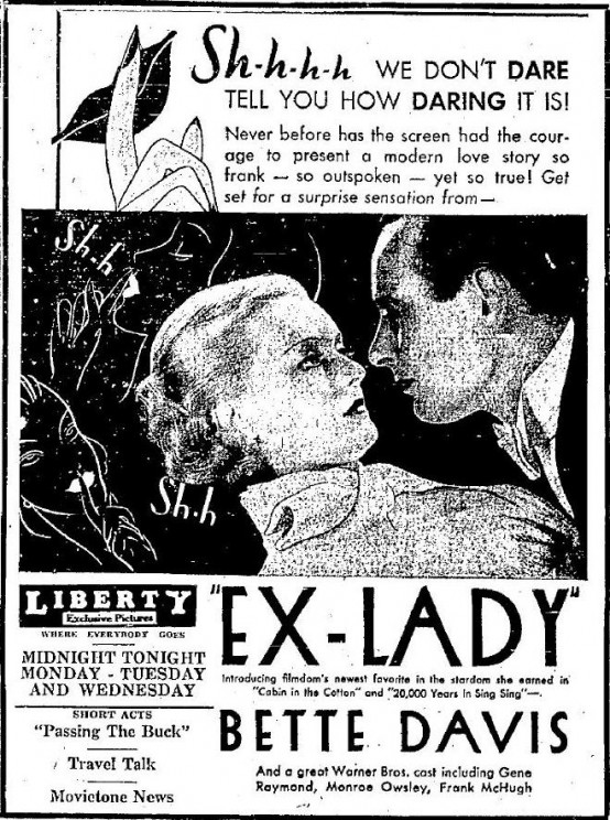 1933 Ex Lady Newspaper Ad