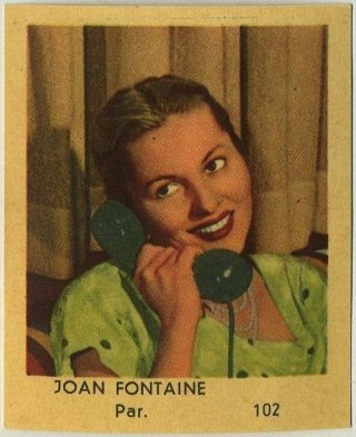 Joan Fontaine 1954 Klene Dutch Trading Card