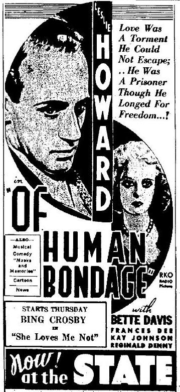 Of Human Bondage 1934 Newspaper Ad