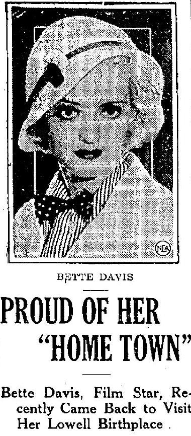 Bette Davis returns to Lowell 1933