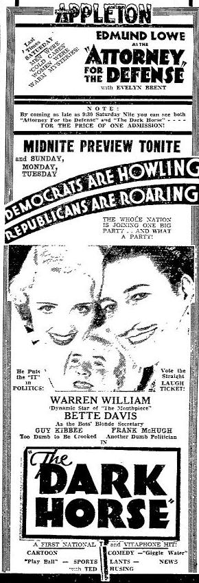 1932 newspaper ad for The Dark Horse