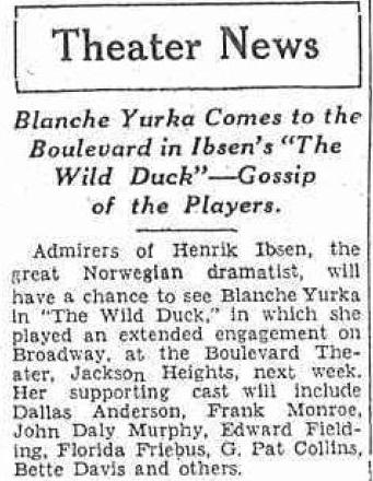 The Wild Duck 1929 clipping mentioning Bette Davis