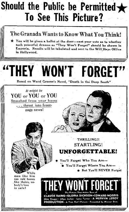 They Won't Forget newspaper ad