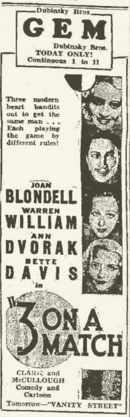 1932 Newspaper ad for Three on a Match