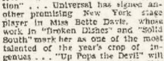 Universal signs Bette Davis