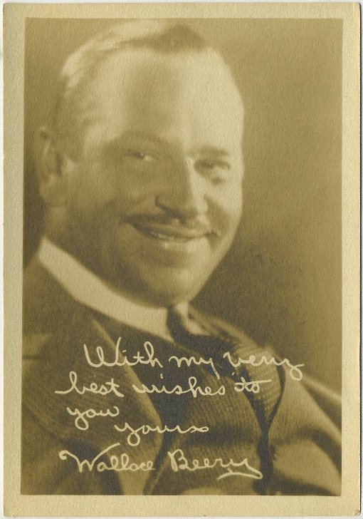 Wallace Beery 1920s era 5x7 Fan Photo