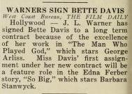 Warner Brothers signs Bette Davis