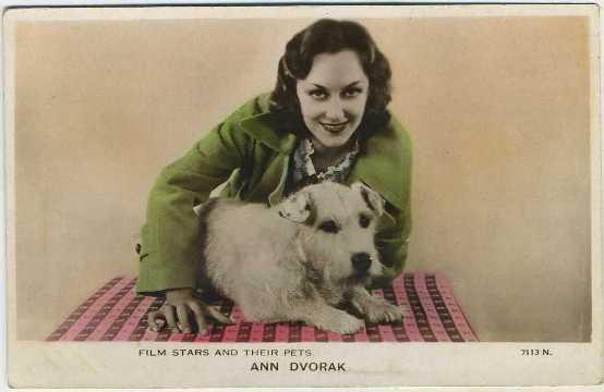 Ann Dvorak Film Stars and Their Pets Postcard
