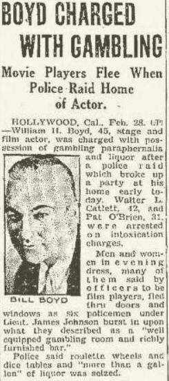Oops! The Mason City Globe-Gazette front page, February 28, 1931, picturing the wrong Bill Boyd.