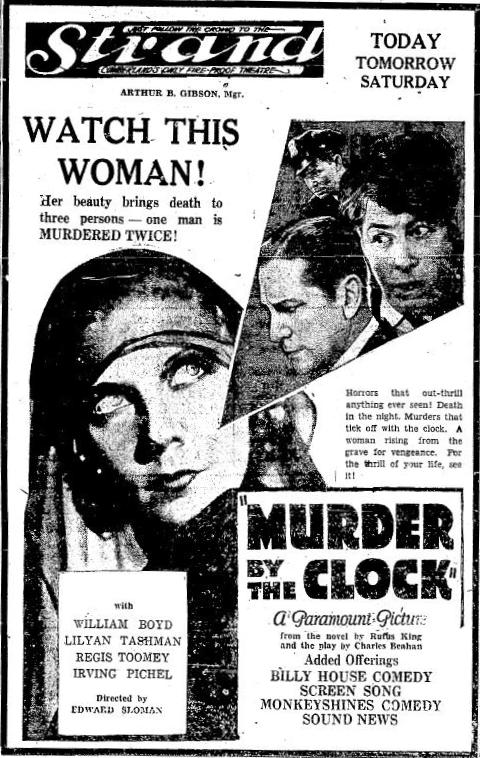 1931 newspaper ad for Murder by the Clock