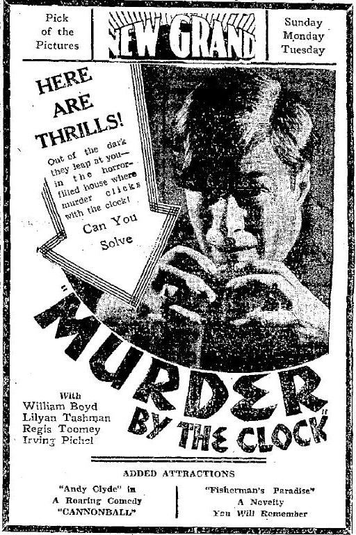 1931 ad for Murder by the Clock