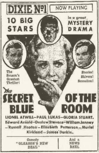 Secret of the Blue Room 1933 advertisement