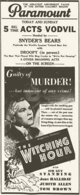 The Witching Hour 1934 newspaper ad