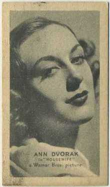 Ann Dvorak 1934 Golden Grain Tobacco Card