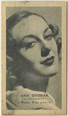 Ann Dvorak 1934 Golden Grain Tobacco Card