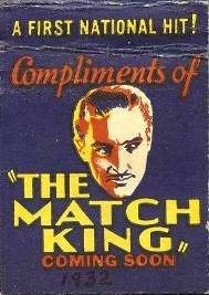 The Match King promotional Matchbook Cover featuring Warren William