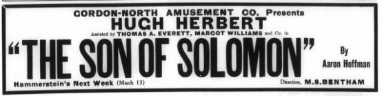 The Son of Solomon 1911 ad
