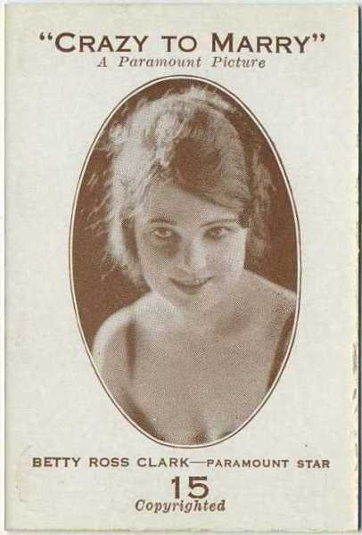 Betty Ross Clarke 1921 Paramount Sales Game Card