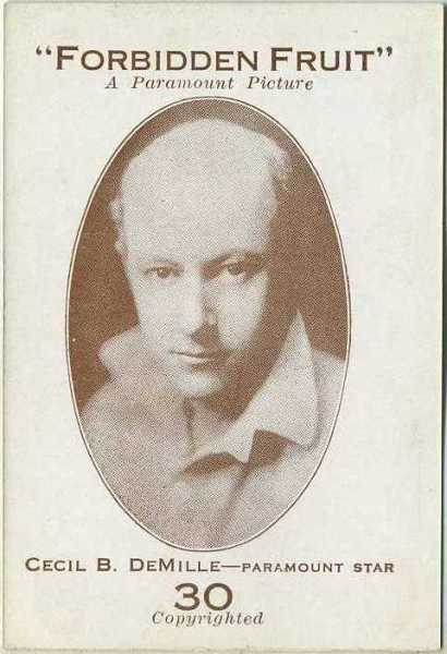 Cecil B DeMille 1921 Paramount Sales Game Card