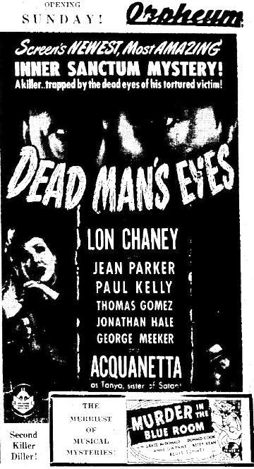 Dead Man's Eyes 1945 advertisement