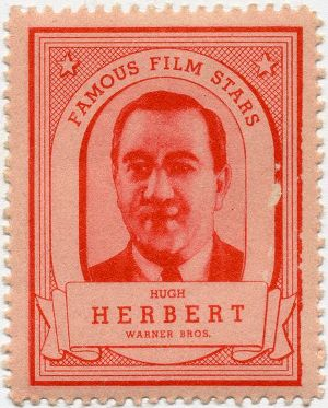 Hugh Herbert pictured on a collectible stamp issued by Lipton Tea in the 1930s
