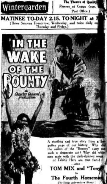 In the Wake of the Bounty 1933 newspaper ad