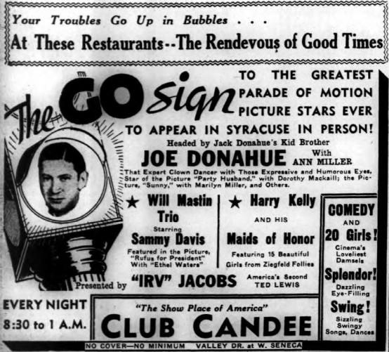 Joe Donahue 1937 advertisement