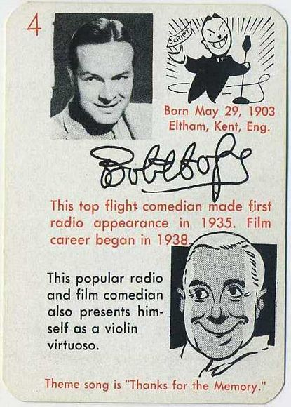 Bob Hope 1945 Leister Autographs Game Card
