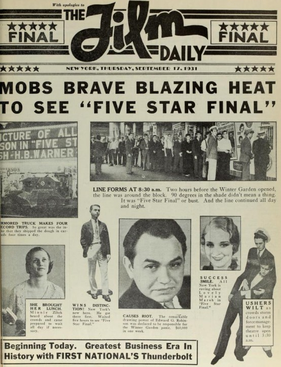 Film Daily ad for Five Star Final