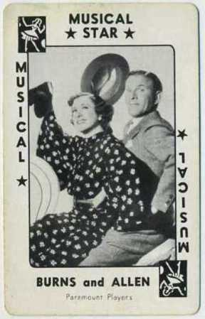Burns and Allen 1938 Movie Millions Game Card