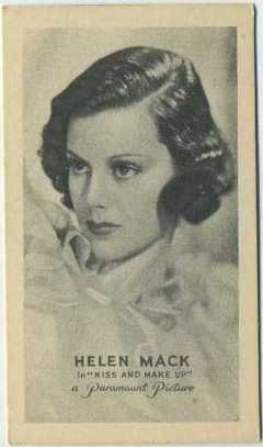 Helen Mack 1934 Golden Grain Trading Card
