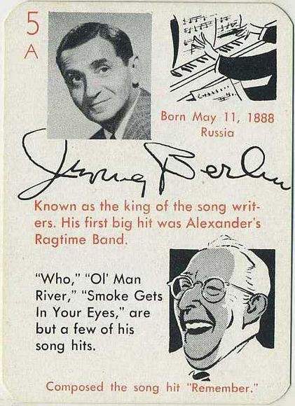 Irving Berlin 1945 Leister Autographs Game Card
