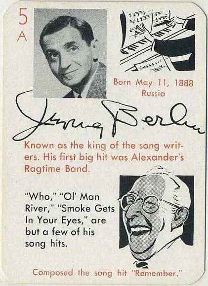 Irving Berlin 1945 Leister Autographs Game Card