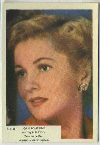 Joan Fontaine 1955 Kane Products Trading Card
